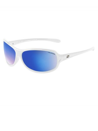 Dirty Dog KeeKee Sunglasses. White Frame. Grey/Blue Fusion Mirror Polarised Lens.