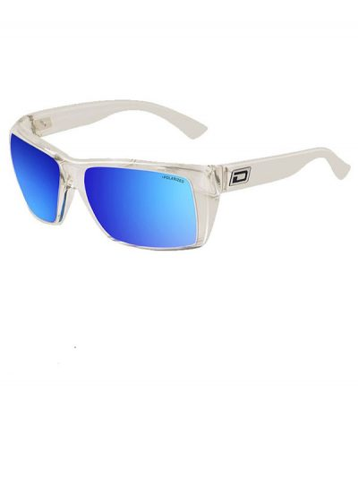 Dirty Dog Mobster. Crystal Clear Frame. Grey/Blue Mirror Polarised Lens.