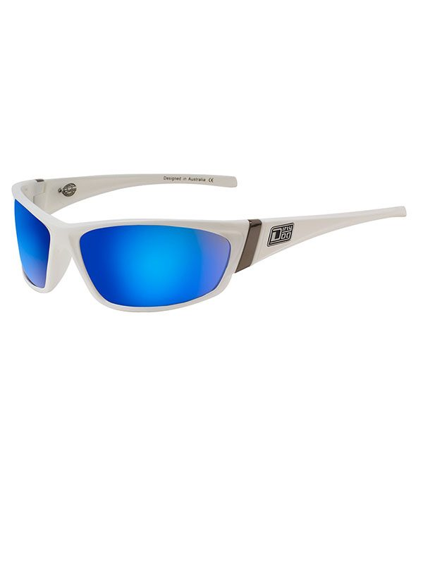Dirty Dog Stoat. White Frame. Grey/Blue Fusion Mirror Lens.