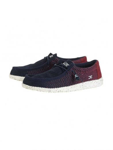Hey Dude Shoes Wally Mesh Navy Red Gradient