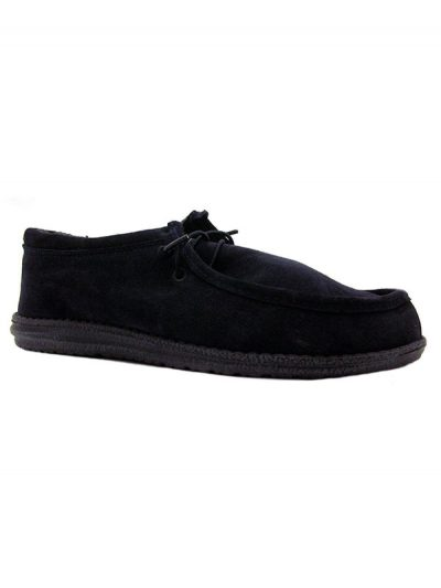 Hey Dude Shoes Wally Suede Casual Mocccasins Navy Blue