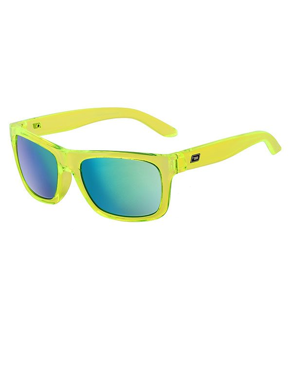 Dirty Dog Boom. Crystal Lime Green Frame. Green Fusion Mirror Polarised Lens.