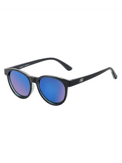 Dirty Dog Sunglasses Ladies Twisty Black Crystal. Grey Blue Fusion Mirror Lens