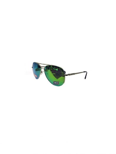 Dirty Dog Sunglasses Maverick Silver Frame Green Fusion Polarised Lens