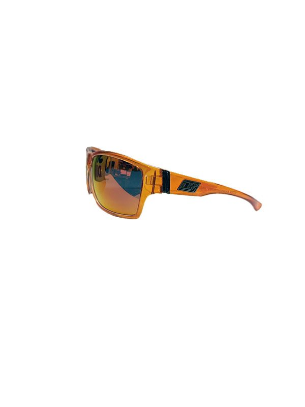 f0841d6249 Dirty Dog Sunglasses Storm Crystal Orange Clear inner Frame Black Mirror  Fusion Polarised Lens ...