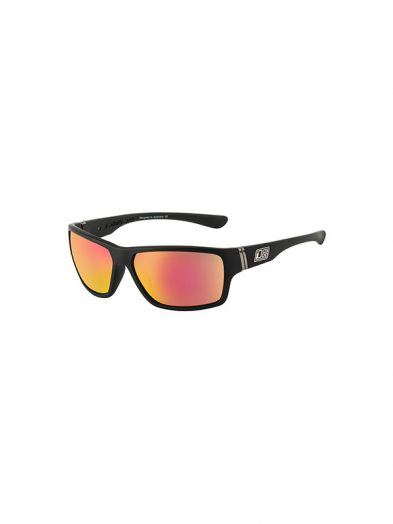 Dirty Dog Sunglasses Storm Satin Black Frame Grey Red Fusion Lens