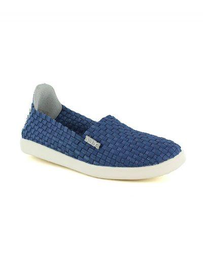 Hey Dude Shoes E-Last Simple Womens Slip On Shoes Incas Jeans Blue
