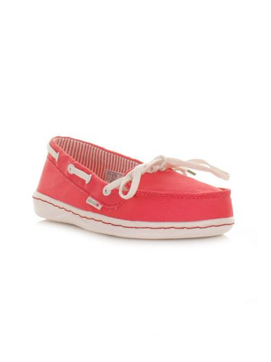 Hey Dude Shoes Moka Canvas Slip On Shoe Coral Berry