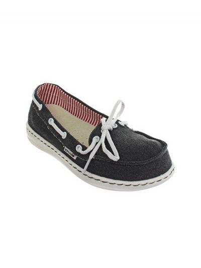 Hey Dude Shoes Moka Canvas Slip On Shoe Navy