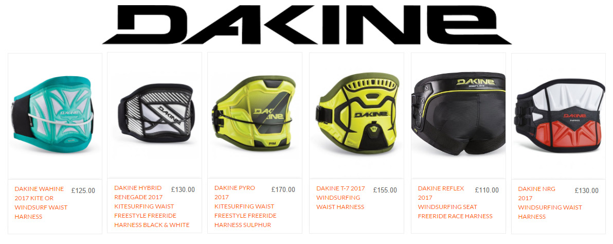 Dakine 2017 Harness Range at AndyBiggs Watersports