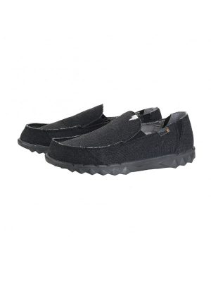 Hey Dude Shoes Farty Black Canvas Slip On Mule