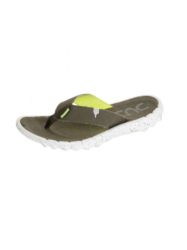 Hey Dude Shoes Sava Canvas Funk Olive Flip Flops