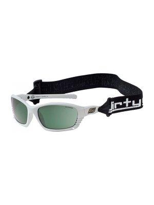 Dirty Dog Sunglasses Furious White Frame Green Lens