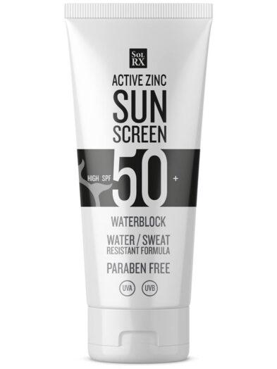 SPF50 SolRX Waterproof Active Zinc Water Block Sun Screen