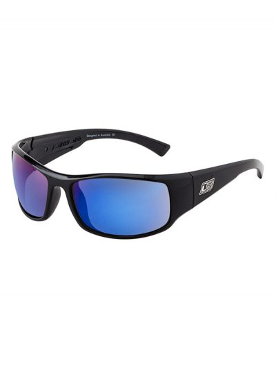 Dirty Dog Sunglasses Black (M) Frame Muzzle Grey/Blue Fusion Mirror Polarised Lens