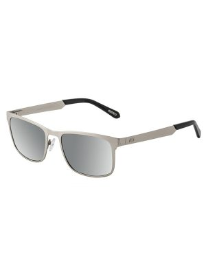 Dirty Dog Sunglasses Hurricane Silver Metal Frame Grey Silver Mirror Polarised Lens