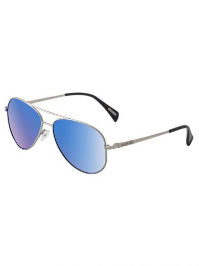 Dirty Dog Sunglasses Maverick Silver Metal Frame Blue Mirror Polarised Lens