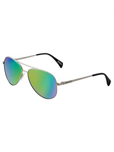 Dirty Dog Sunglasses Maverick Silver Metal Frame Green Fusion Mirror Polarised Lens