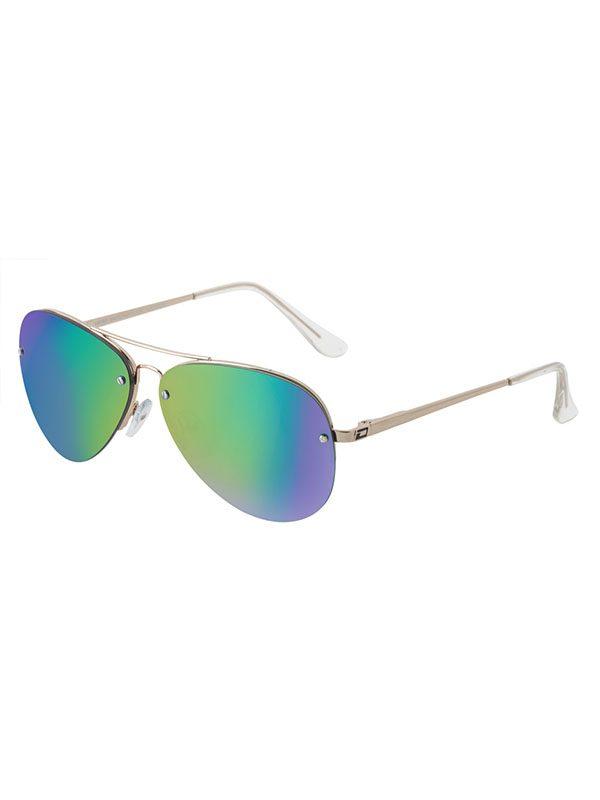 Dirty Dog Sunglasses Gold Frame Green Fusion mirror Polarised Lens