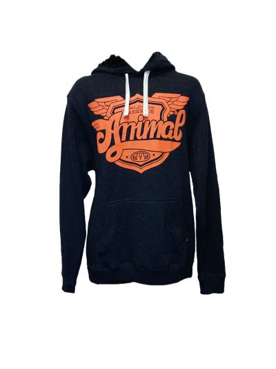 animal wy044 overhead hoody charcoal mens