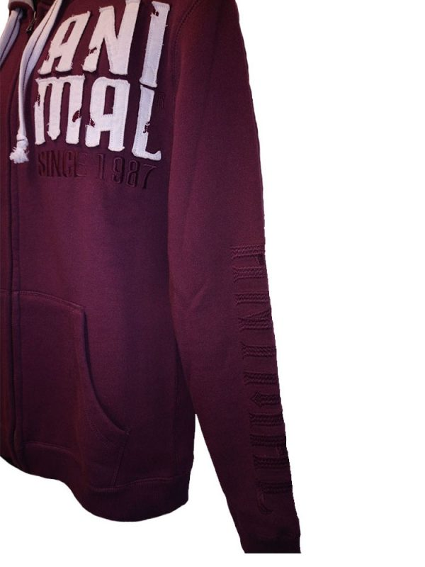 animal cl3ec067-z52 full zip hoody wine mens 3