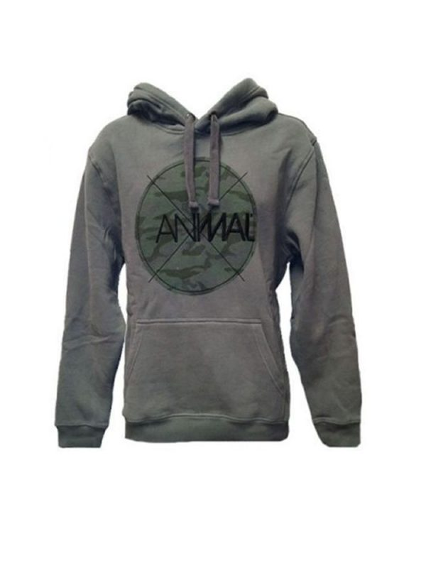 animal cl4we094 hoody pewter men