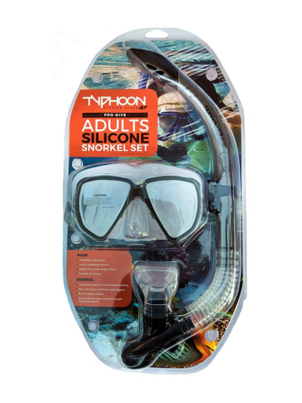 Typhoon Silicone Pro Dive Combo Snorkel and Mask Set in Black Blue or Grey