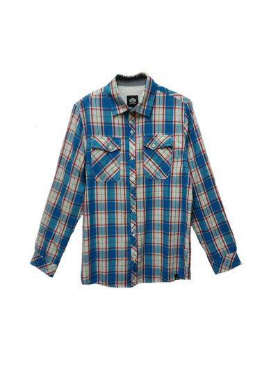 animal cl5sg126 long sleeved shirt mid blue mens