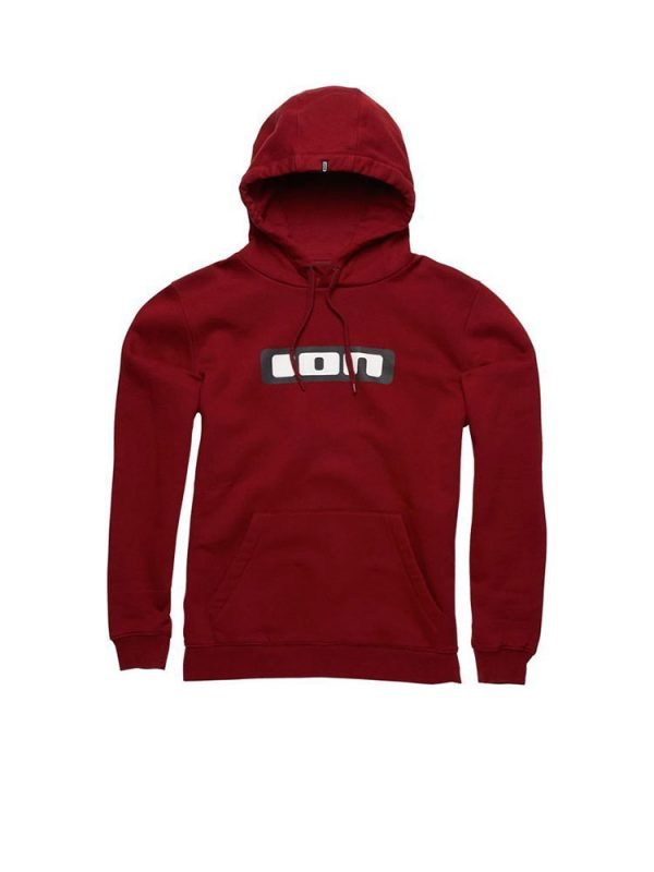 ion logo over head hoody biking red mens