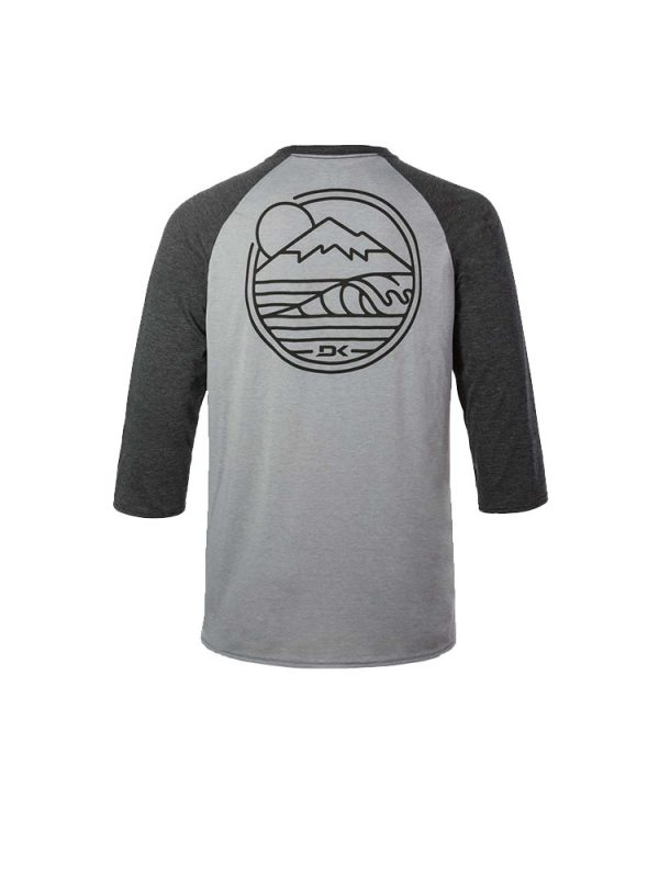 dakine 10001866 rounded three quarter raglan sleeve tee heather dark grey mens back