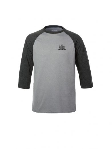 dakine 10001866 rounded three quarter sleeve raglan sleeve tee heather dark grey mens