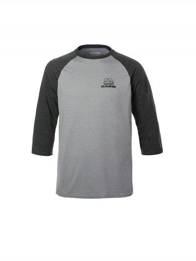 dakine 10001866 rounded three quarter sleeve raglan sleeve tee heather dark grey mens