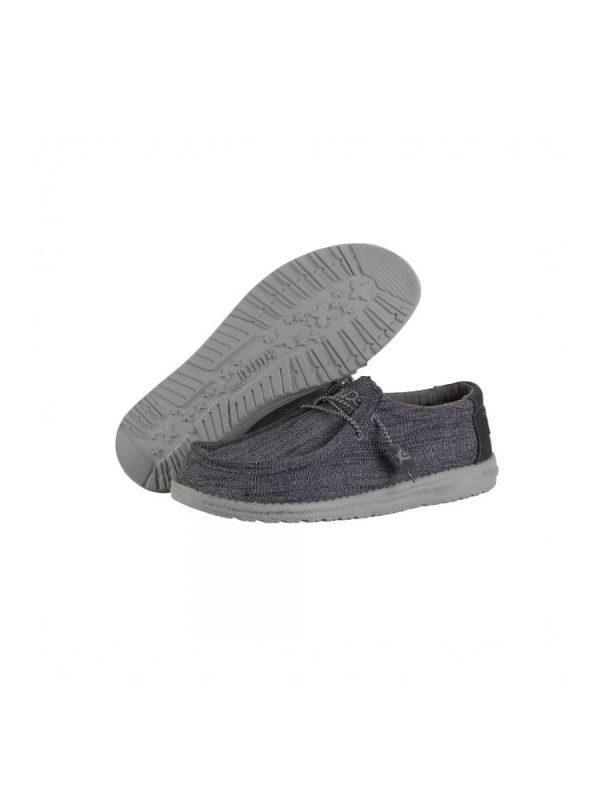 hey dude shoes wally woven textile lace up casual shoes carbone mens1