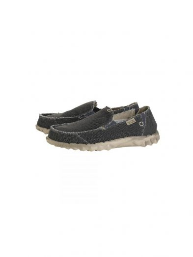 hey dude farty natural slip on mule black organic cotton mens