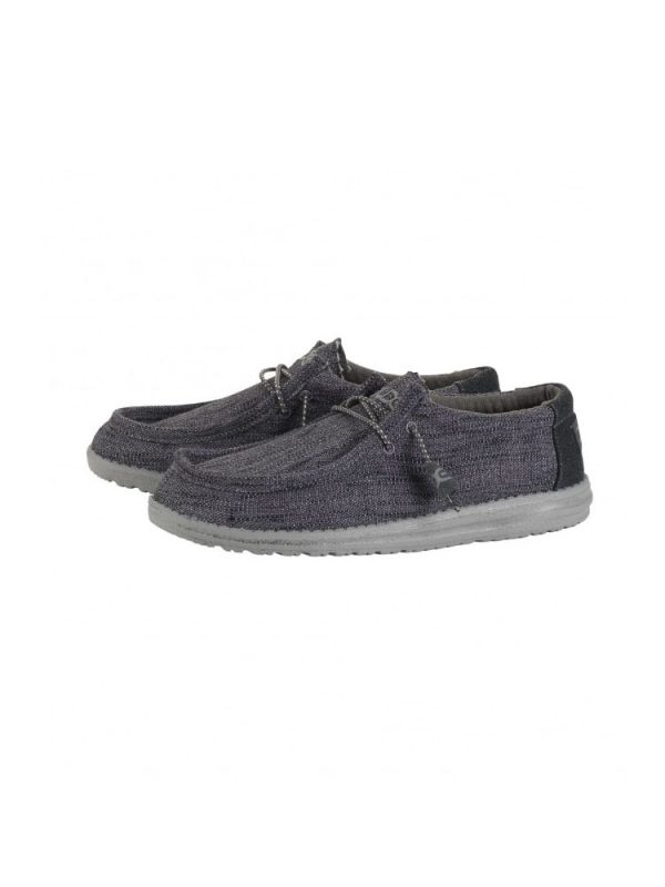 hey dude shoes wally woven textile lace up casual shoes carbone mens