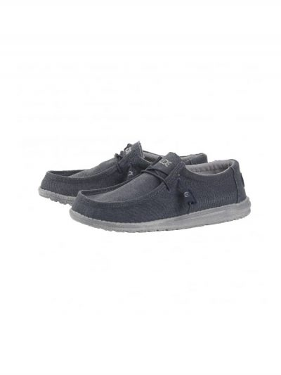 hey dude wally canvas casual lace up shoe oceano mens