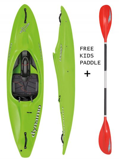 DAGGER DYNAMO 7.4 ACTION LIME KIDS SIT IN KAYAK,