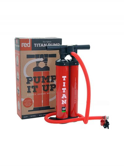 TITAN PUMP We prefer spending our time paddling rather than pumping so we developed the Titan Pump. The Dual Cylinder system combined with the Hi Flo handle means you are in complete control of the time and energy required to inflate your board. It puts the volume into your board faster and reduces the effort required to reach a higher pressure. A revolution in pumping technology! The Titan Pump. The world's first purpose built, double chamber SUP pump – designed to cut the amount of time and effort it takes to inflate you board by half. It comes with almost every board in the Red Paddle Co Range and, despite looking the same has been constantly re-designed since its inception to make it as efficient as possible. Constant innovation has meant we have tested the absolute boundaries of inflation technology and as such are confident there is nothing quite like the Titan pump. What's more, it now comes with attachments to enable you to inflate anything from boards, to kites, airbeds and boats! The Titan Pump. It's pumping made easy.