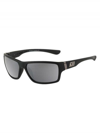 Dirty Dog Sunglasses Storm Satin Black Frame Silver Mirrored Polorised Lens