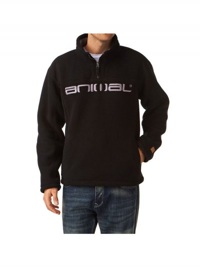 Animal 1/4 Zip Sherpa Fleece Black WY087 002 Mens - Large Only