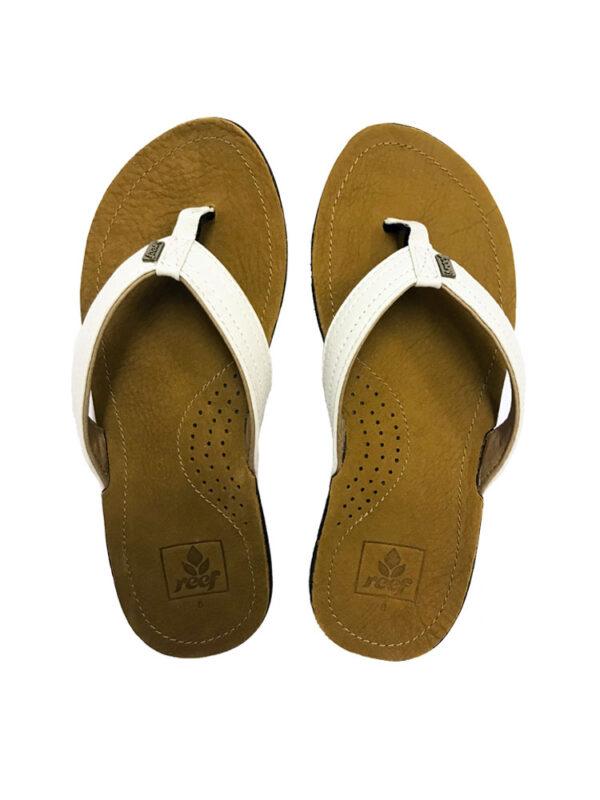 Reef Miss J-Bay Tan White Flip Flops