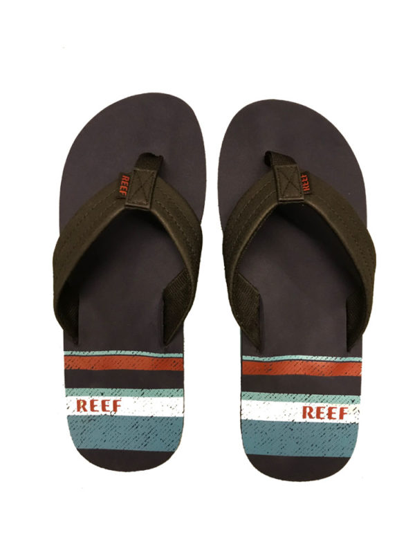Reef Waters Navy/Stripe Mens Flip Flops