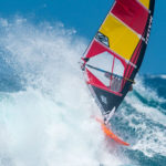 Naish 2019 Sails Red-Yellow on the water