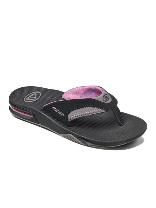 Reef Fanning Black Grey Ladies Flip Flops