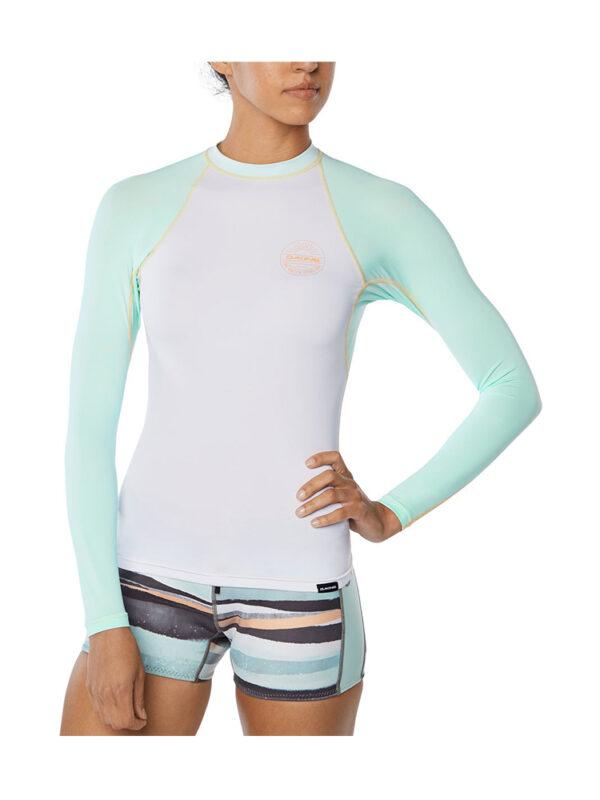 Dakine Flow Snug Fit Long Sleeve Rash Vest 10002331 - Pastel Current