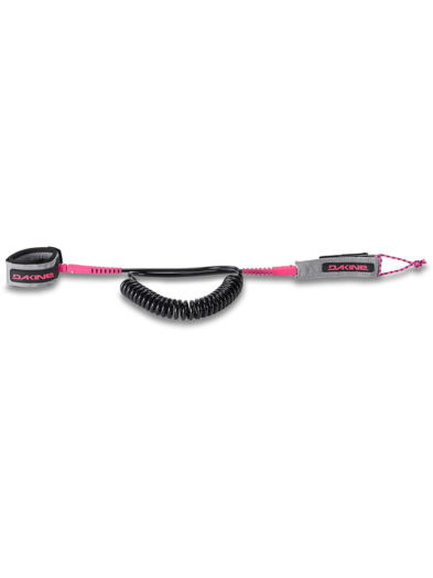 "Dakine 10' x 5/16"" SUP Paddleboard Coiled Ankle Leash for Waves and Flat Water - Grey Pink"