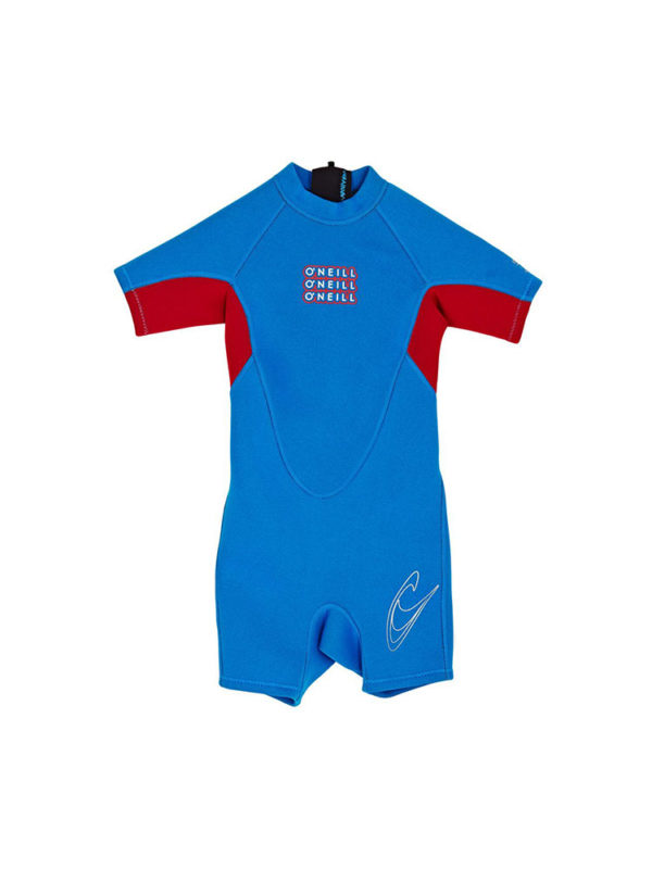 O'neill Toddler Reactor shorty 2mm Summer Wetsuit Blue Red