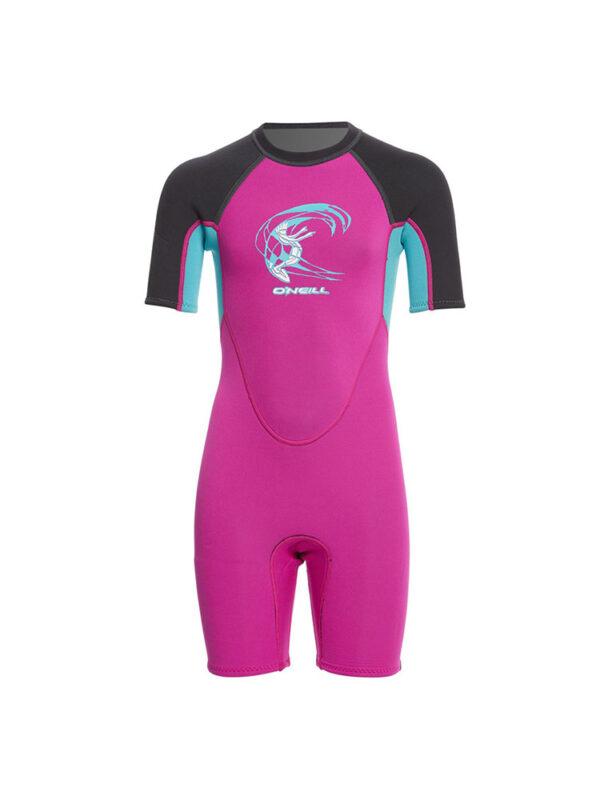 O'neill Toddler Reactor shorty 2mm Summer Wetsuit Pink/blue