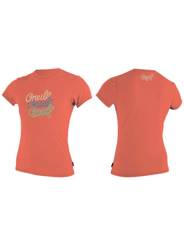 O'Neill Girls Premium Skins Short Sleeved Sun Shirt Coral