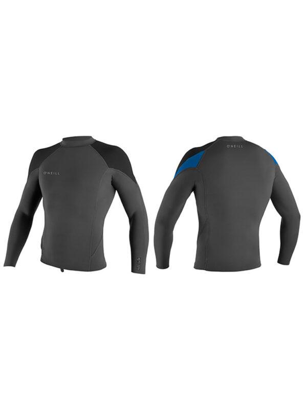 O'Neill Reactor 2 Long Sleeve 1.5mm Wetsuit Neoprene Top - Black Grey Blue